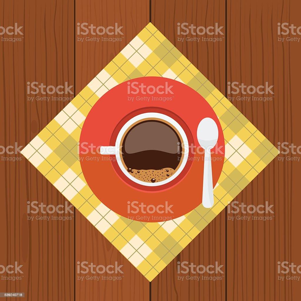 Taza y sauser con café, burbujas cuchara de vista superior ilustración de taza y sauser con café burbujas cuchara de vista superior y más banco de imágenes de alimento libre de derechos