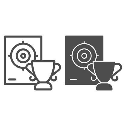 Cup and target line and solid icon, self defense concept, shooting range and goblet sign on white background, winner in shooting range icon in outline style for mobile concept. Vector graphics.