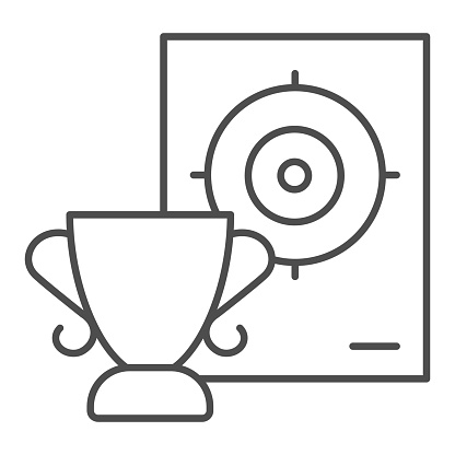 Cup and target thin line icon, self defense concept, shooting range and goblet sign on white background, winner in shooting range icon in outline style for mobile concept. Vector graphics.