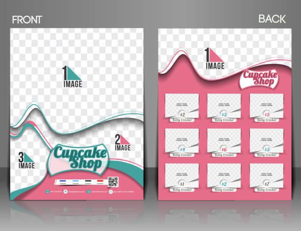 cup-cake shop flyer - tortenständer stock-grafiken, -clipart, -cartoons und -symbole