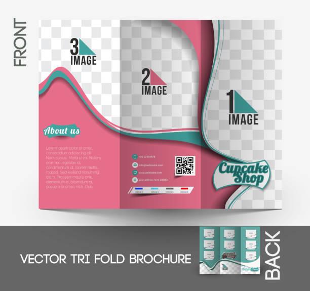 cup-cake shop tri-fold-broschüre - tortenständer stock-grafiken, -clipart, -cartoons und -symbole