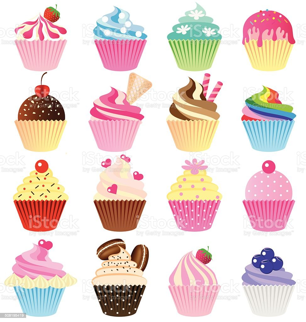 Cup cake vector set royalty-free stock vector art