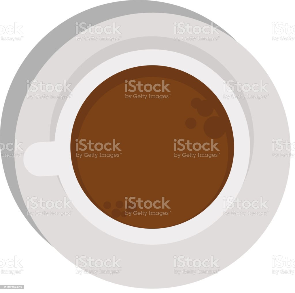 Cup coffe top view vector vector art illustration