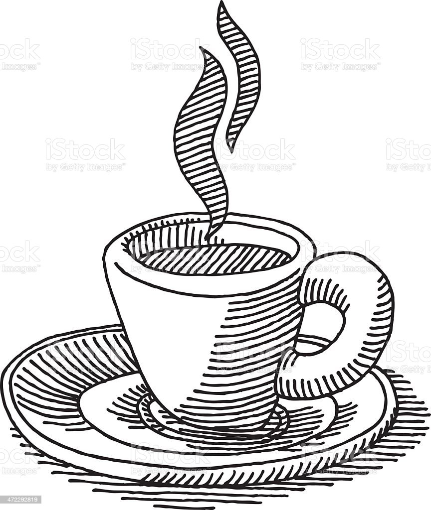 Cup Coffee Espresso Drawing vector art illustration