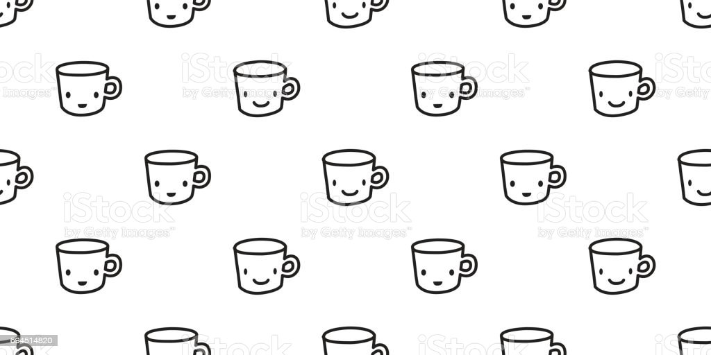 Cup Coffee Tea Juice Paper Doodle Cartoon Seamless Pattern Wallpaper Background Royalty Free