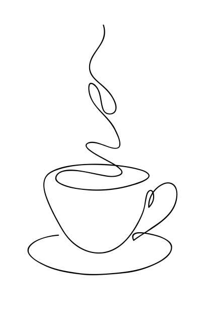 Tasse Tasse Kaffee kontinuierliche Linie Kunst Handzeichnung. Kaffeehaus-Logo. Umrissstil gezeichnet Skizze Vektor-Illustration. – Vektorgrafik