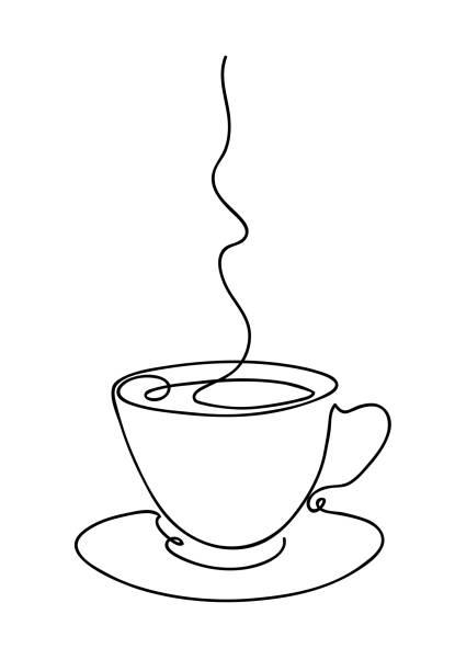 Tasse Tasse Kaffee kontinuierliche Linie Kunst Handzeichnung. Kaffeehaus-Logo. Umrissstil gezeichnete Skizze Vektor-Illustration – Vektorgrafik
