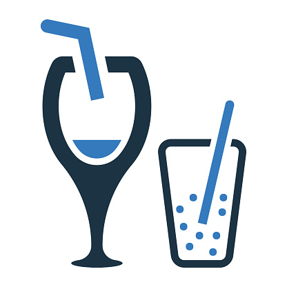 Cup, drink glass icon. Glyph vector isolated on a white background
