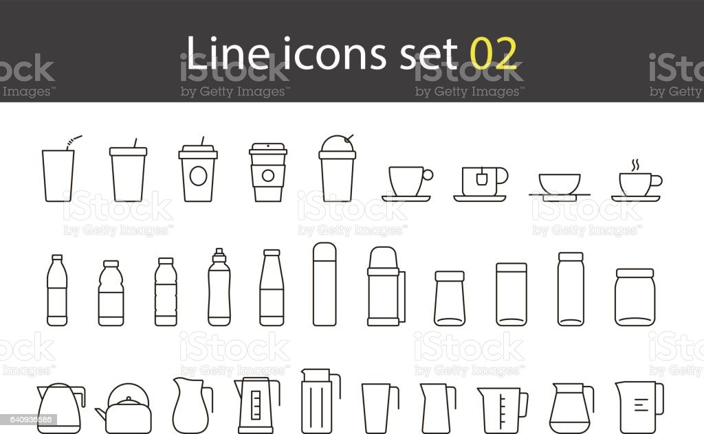 cup, glass, bottle, kettle simple icons set, vector vector art illustration