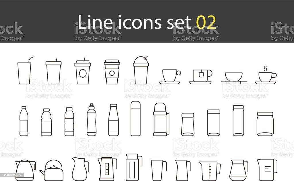 taza de vidrio, botella, caldera simple iconos conjunto, vector - ilustración de arte vectorial