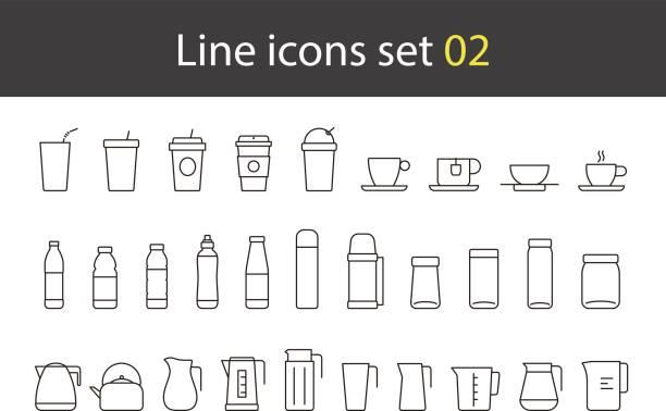 cup, glass, bottle, kettle simple icons set, vector vector art illustration