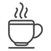 Cup line icon. Hot coffee drink or tea mug on plate symbol, outline style pictogram on white background. Business and cafe sign for mobile concept and web design. Vector graphics