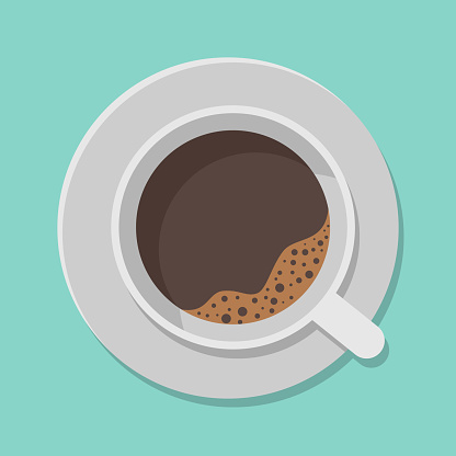 A cup of black coffee and saucer top view isolated on white background. Vector illustration.