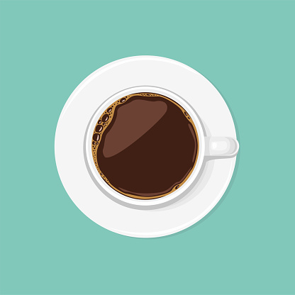 Cup of black coffee top view. Espresso or Americano in a white ceramic cup isolated. Vector illustration in cartoon flat style.