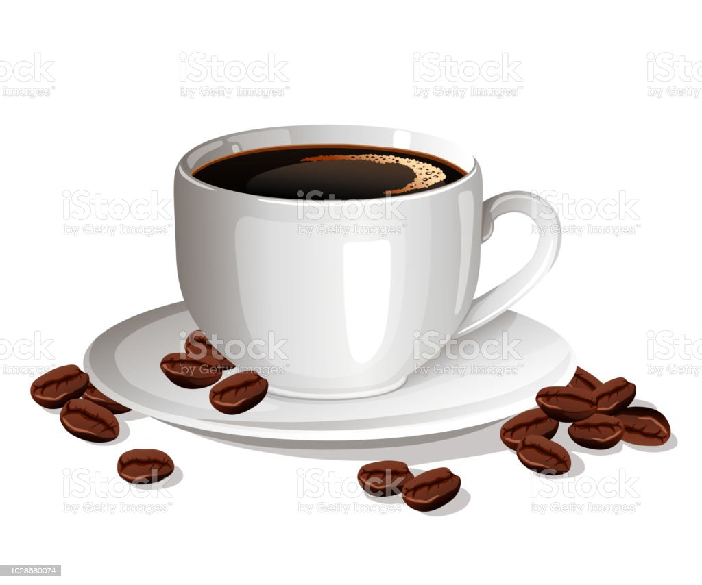 Cup Of Black Coffee With Coffee Beans Stock Illustration ...