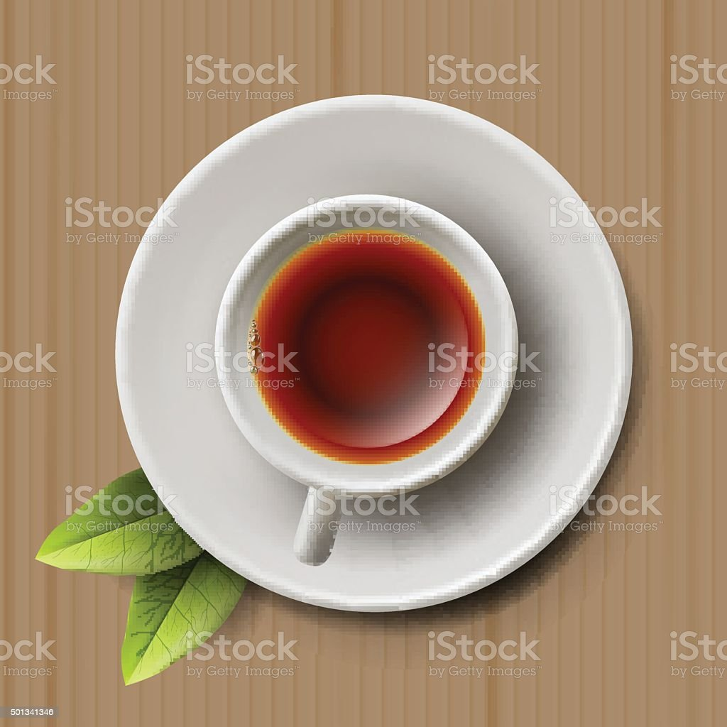 Cup of black tea, top view on cardboard vector art illustration