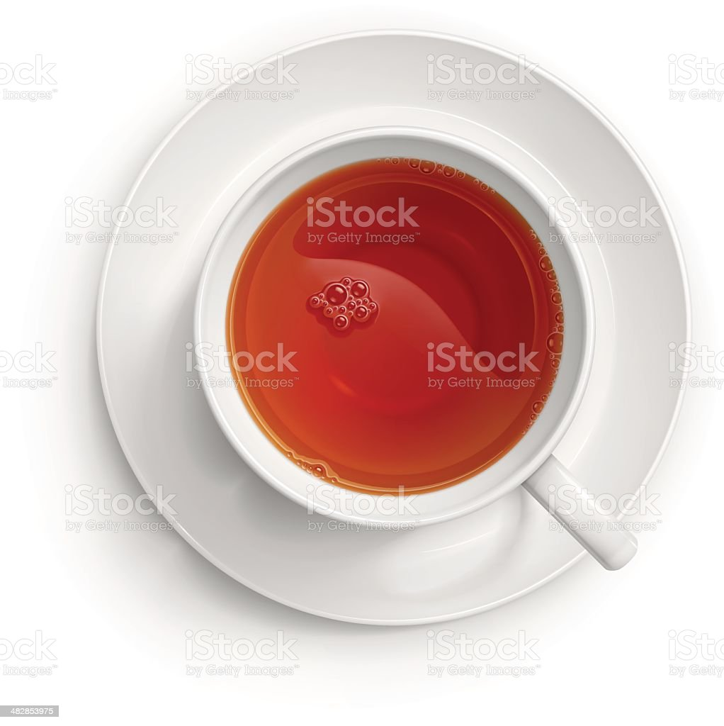 Cup of black tea vector art illustration