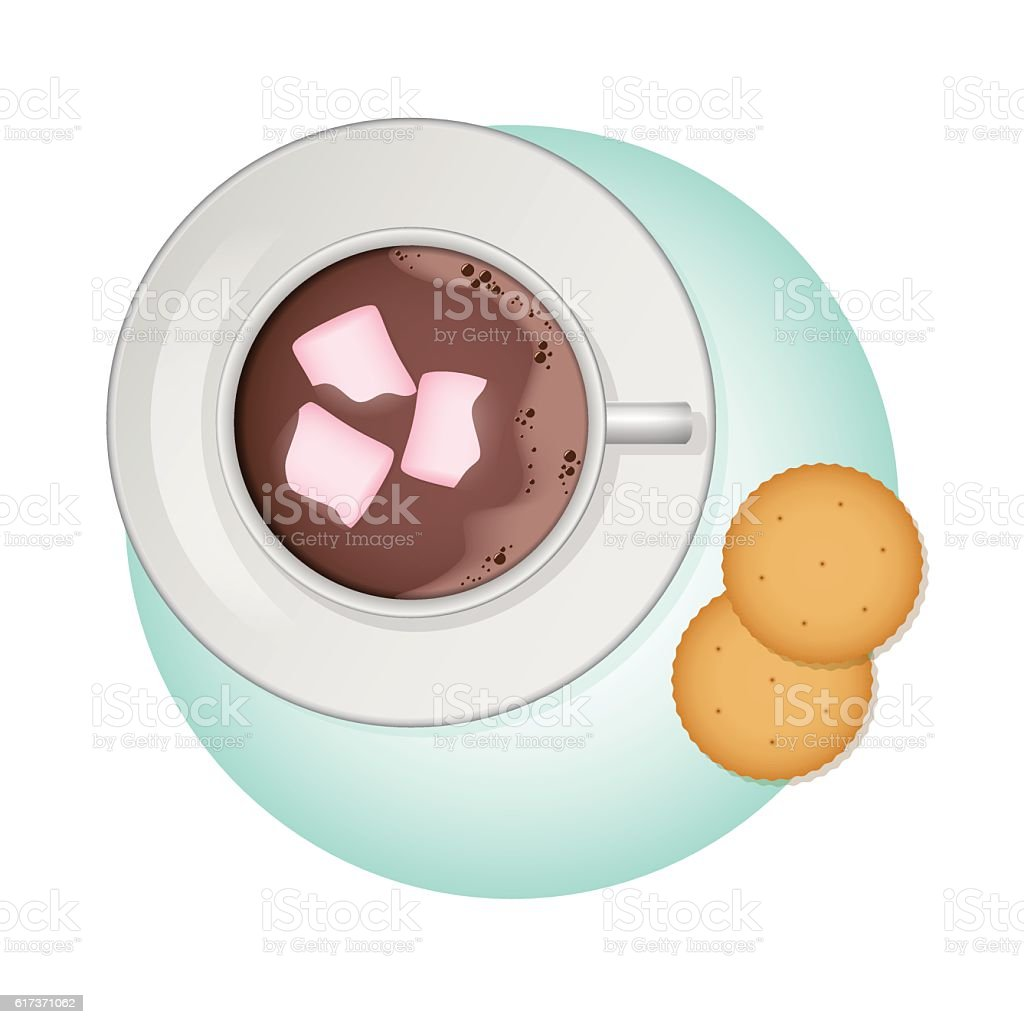 Cup of cocoa, pink marshmallow and crackers. Vector illustration. vector art illustration
