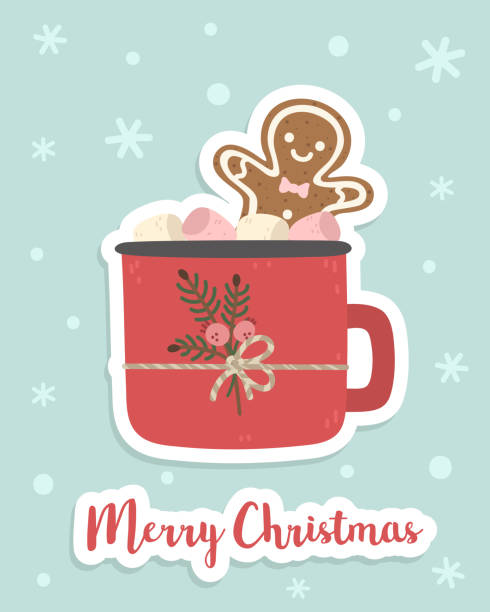 A cup of cocoa with marshmallows and a gingerbread man in it. Cute cartoon style. Christmas decoration. Background, card, print. Vector hot chocolate stock illustrations