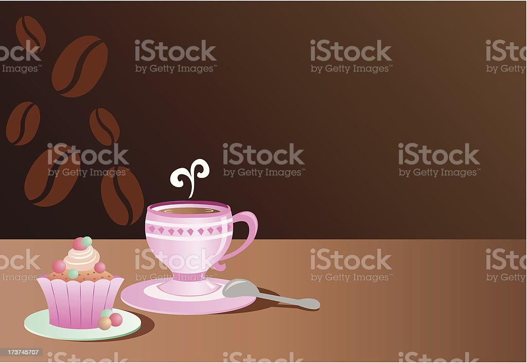 Cup of coffee and cake royalty-free stock vector art