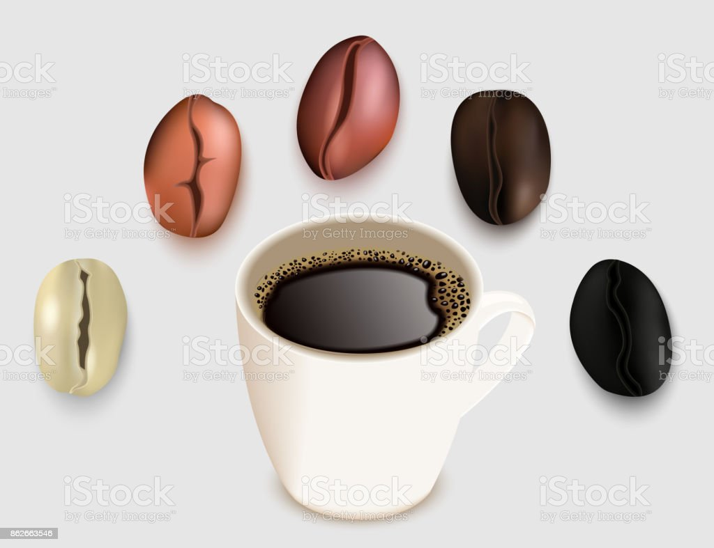 Cup of coffee and coffee beans vector 3d realistic illustration vector art illustration