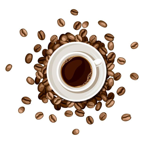 Tasse Kaffee und Kaffeebohnen. Vektor-Illustration. – Vektorgrafik