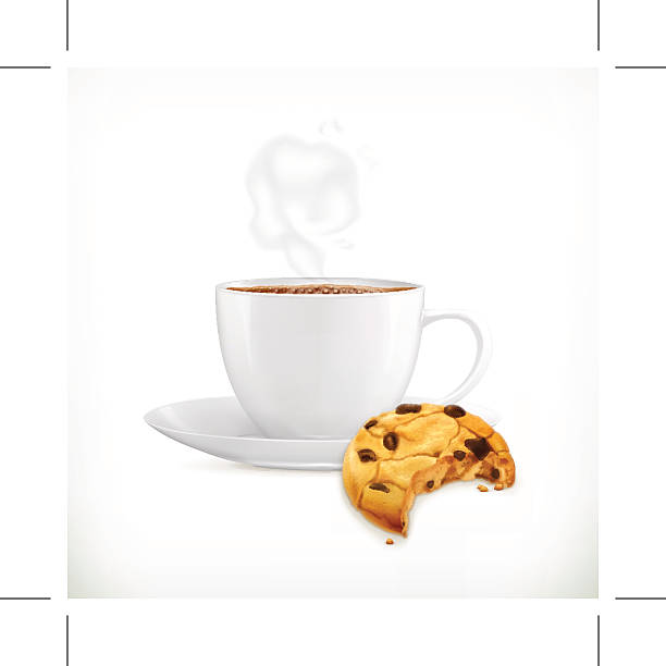 bildbanksillustrationer, clip art samt tecknat material och ikoner med cup of coffee and cookies, isolated vector illustration - tallrik uppätet