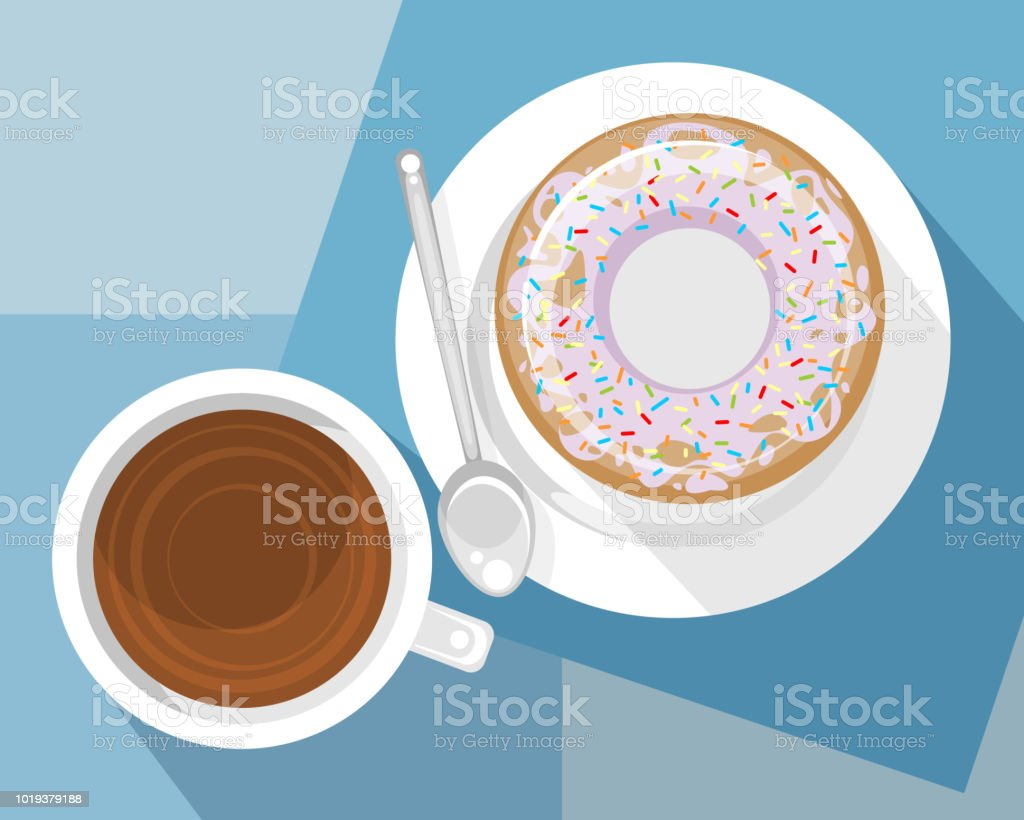 Cup of coffee and dessert vector art illustration
