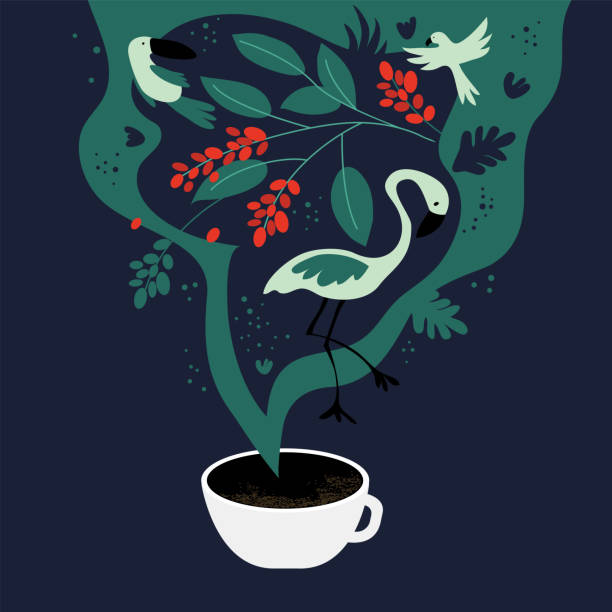 Cup of coffee and fancy – artystyczna grafika wektorowa