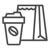 Cup of coffee and package line icon, Coffee time concept, Take away food package sign on white background, paper packaging bag and coffee cup icon in outline style. Vector graphics