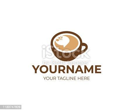 Cup of coffee and speech bubble design. Coffee break vector design. Coffeehouse design