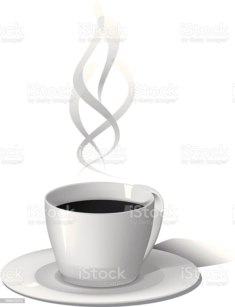 A cup of coffee and white background royalty-free stock vector art