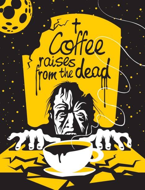 bildbanksillustrationer, clip art samt tecknat material och ikoner med kopp kaffe och zombie på kyrkogården på natten - coffe with death