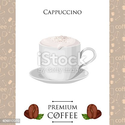 Cup of coffee. Cappuccino. Vector illustration.