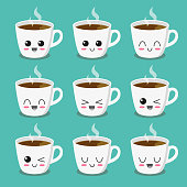 Cute, funny and happy cup of coffee. Character set. Vector illustration