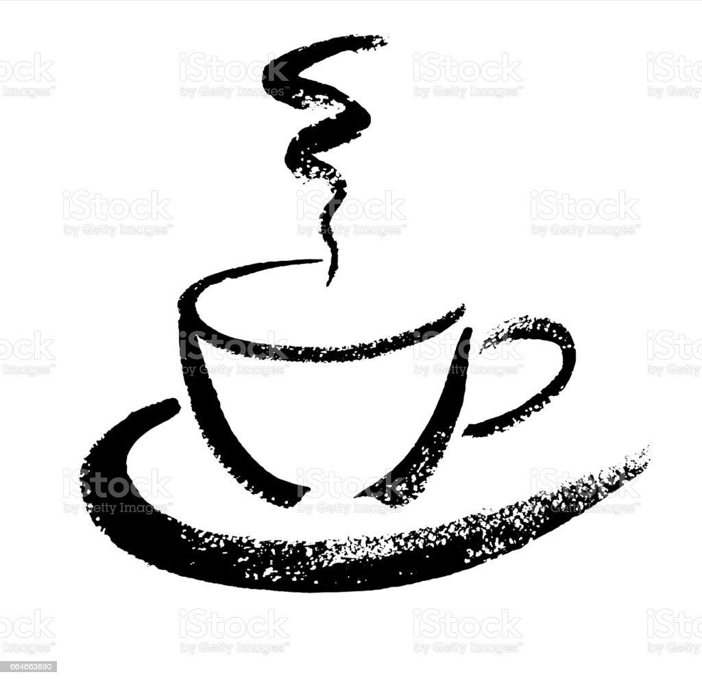 Eine Tasse Kaffee Handskizze Gezeichnete Pinsel Vektorillustration