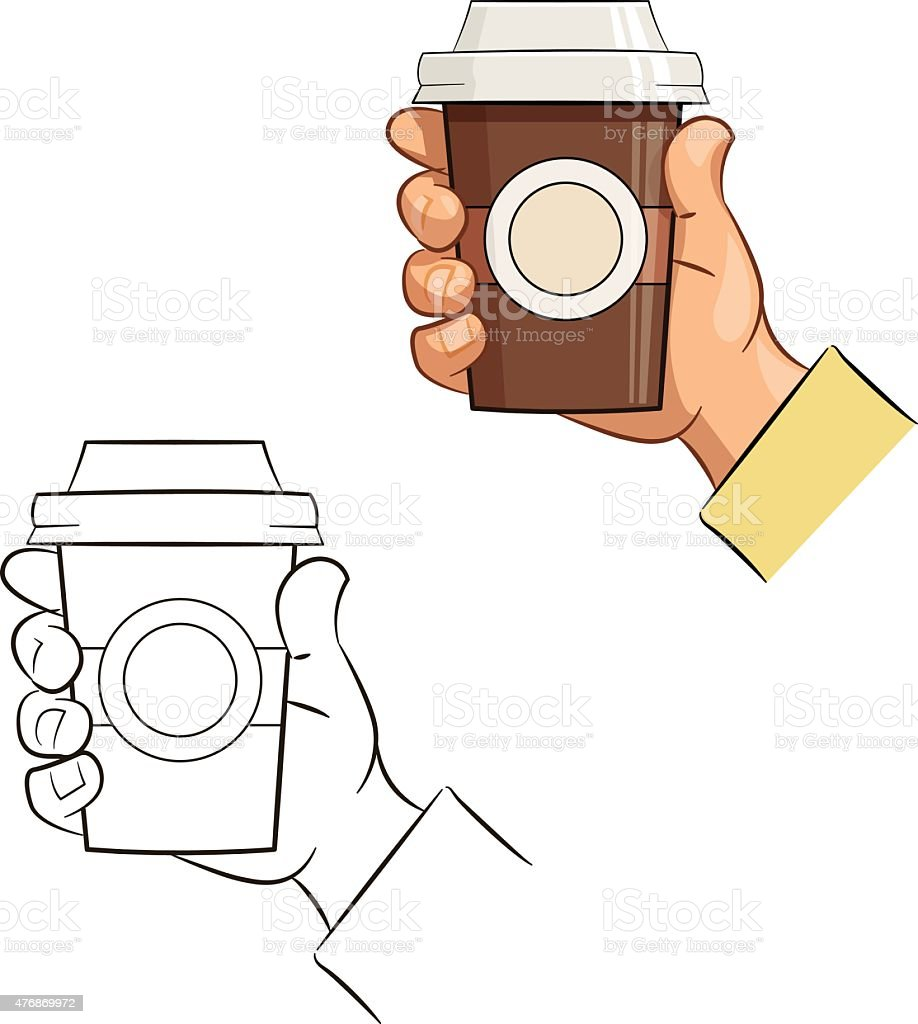 Cup of coffee in hand vector art illustration