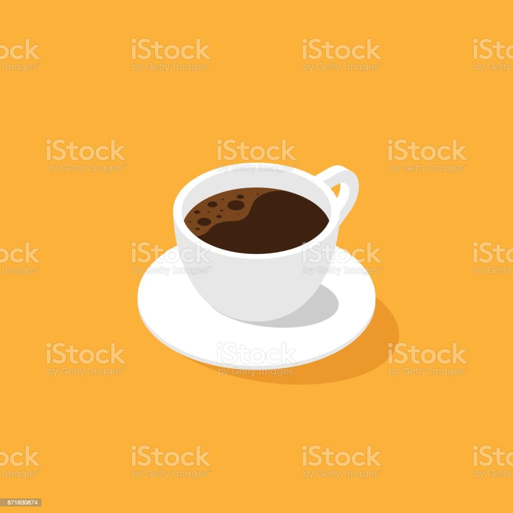 A cup of coffee isometric flat design royalty-free a cup of coffee isometric flat design stock illustration - download image now