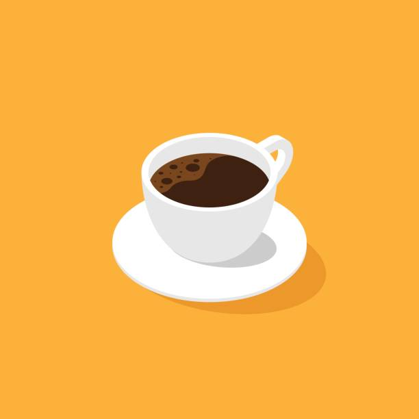 a cup of coffee isometric flat design - coffee stock illustrations