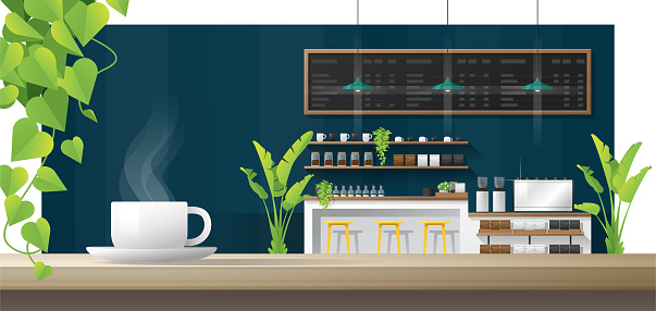 Cup of coffee on wooden table with interior coffee shop background , vector , illustration