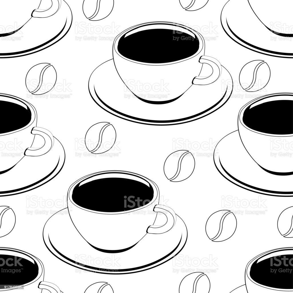Bir Fincan Kahve Anahat Seamless Modeli Vektör Arka Plan Boyama