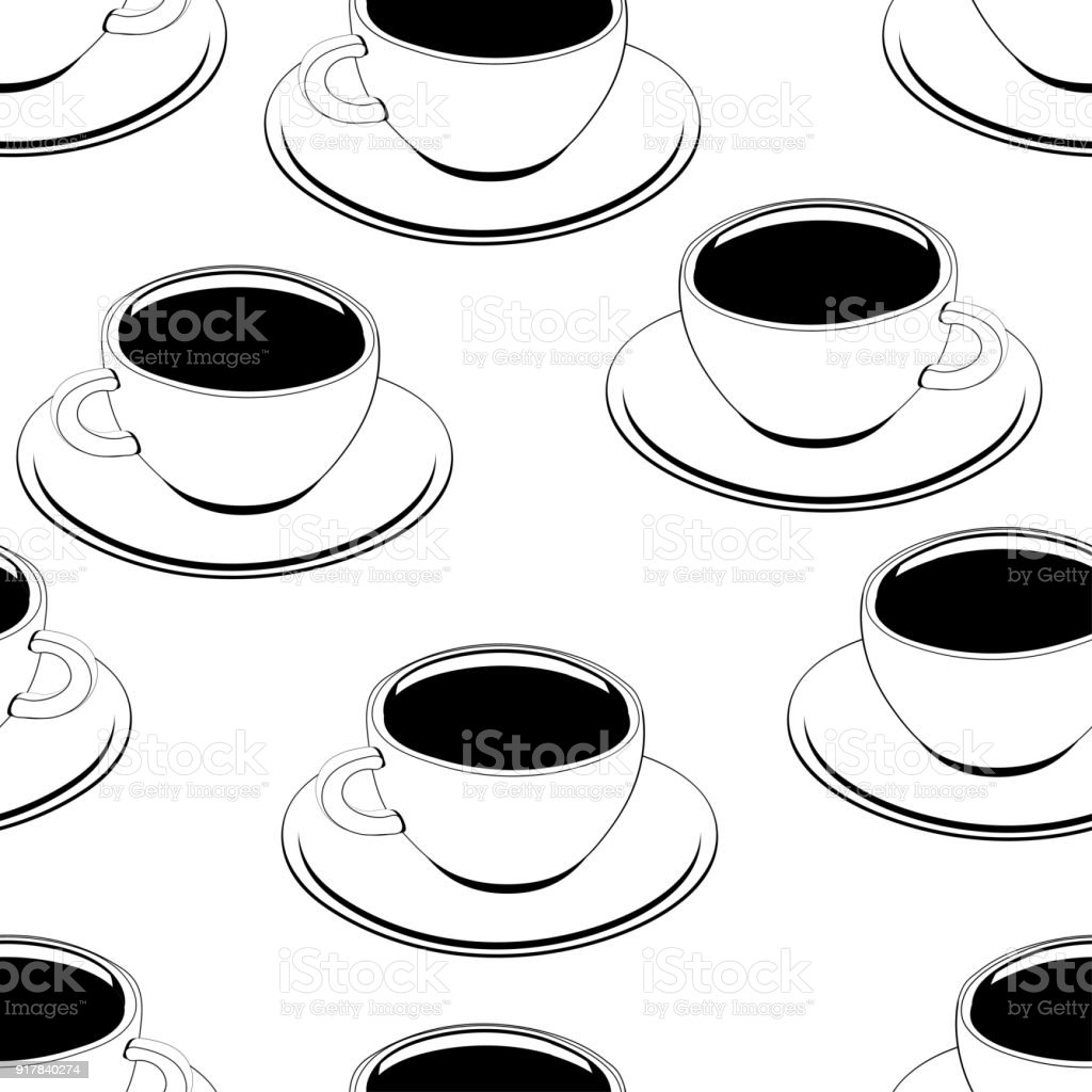 Vetores De Xicara De Cafe Contorno Sem Costura Teste Padrao De