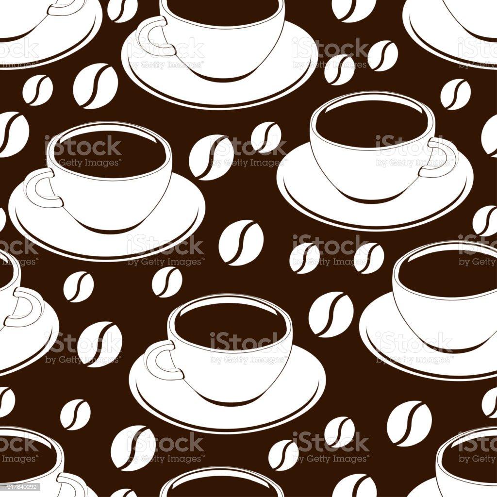 Ilustración De Taza De Café Contorno De Patrones Sin Fisuras