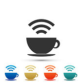 Cup of coffee shop with free Wi-Fi zone icon isolated on white background. Internet connection placard sign. Set elements in colored icons. Flat design. Vector Illustration