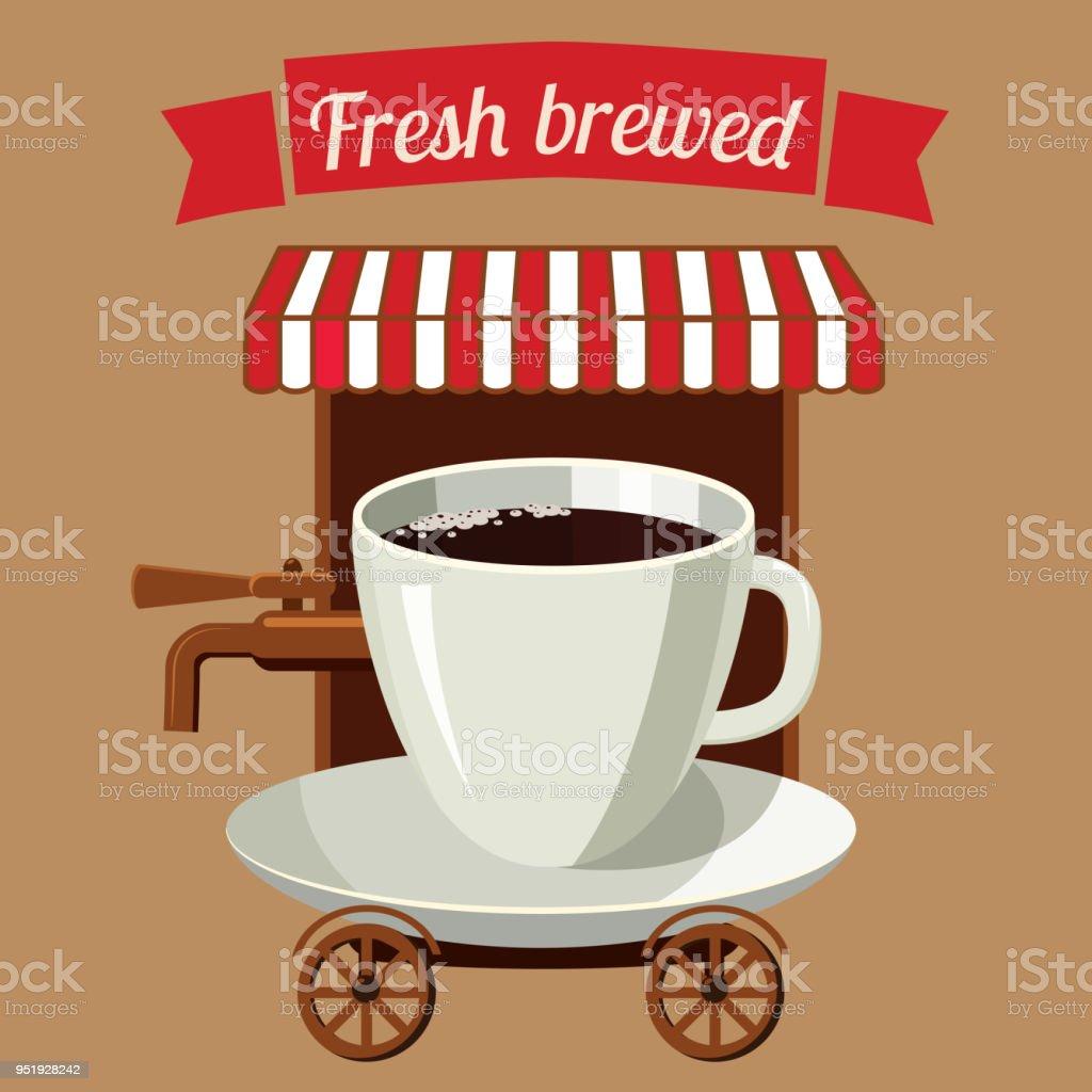 Ilustración de Estilizada De Una Taza De Café Café Calle Sobre ...