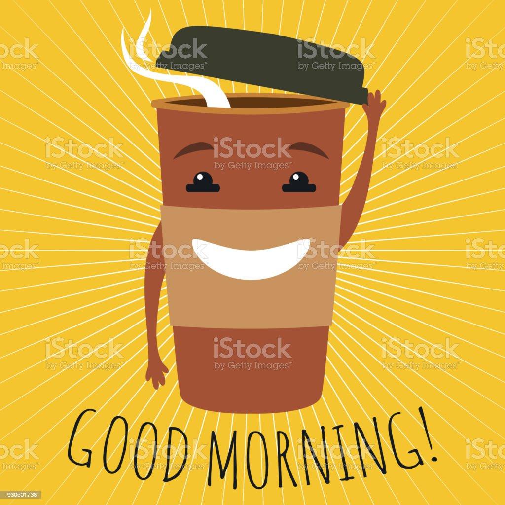 Tasse Kaffee Mit Smileygesicht Zu Gehen Guten Morgen Stock