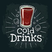 Cup of cola. Vector color flat illustration for poster, label and menu cafe fast food. Isolated on the black chalkboard with vintage white chalk engraving rays, lettering Cold Drinks, ice cube
