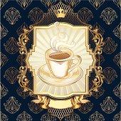 Decorative golden design, layered vector artwork