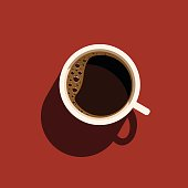 Cup of coffee with shadow. Isolated vector illustration on red background.