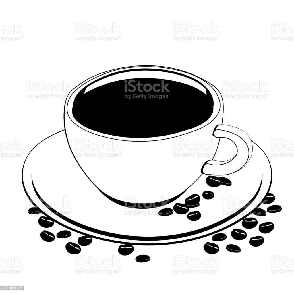 Ilustración De Taza De Café Vector Esquema Dibujo Contorno